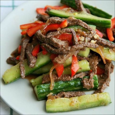 Мясо с огурцами по корейски